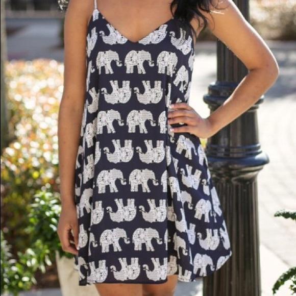 d18a6c7ebc0 White and Black Elephant Dress. NWT
